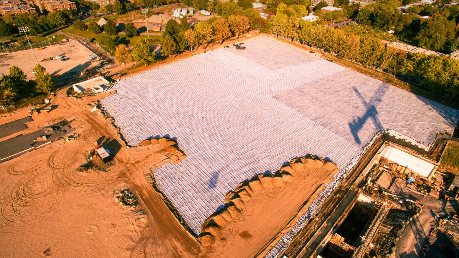 Vue aérienne d'un chantier